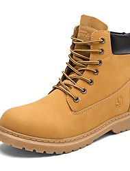 cheap -Men's Shoes Leather Spring Fall Combat Boots Boots Lace-up For Casual Khaki Yellow Black