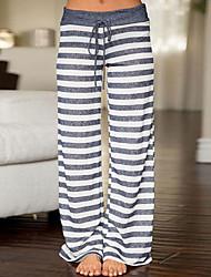economico -Da donna A vita medio-alta Media elasticità Dritto Chino Pantaloni della tuta Pantaloni,A strisce Poliestere Primavera Autunno