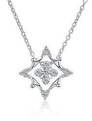 baratos -Mulheres Forma Geométrica Colares com Pendentes Colares em Corrente Cristal Zircônia Cubica Rosa Folheado a Ouro Liga Colares com