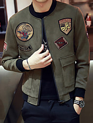 Men's Casual/Daily Simple Fall Jacket,Print Stand Long Sleeve Regular Polyester