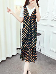abordables -Mujer Simple Casual/Diario Verano T-Shirt Falda Trajes,Escote Redondo Damasco Manga Corta