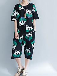 Damen Muster Einfach Lässig/Alltäglich T-Shirt-Ärmel Hose Anzüge,Rundhalsausschnitt Sommer Kurzarm Mikro-elastisch