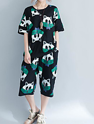 abordables -Mujer Simple Casual/Diario Verano T-Shirt Pantalón Trajes,Escote Redondo Patrón Manga Corta Microelástico