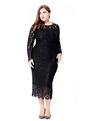 Women's Party Going out Casual/Daily Plus Size Simple Vintage Cute Bodycon Sheath Lace Dress,Solid Jacquard Round Neck Midi Long Sleeves