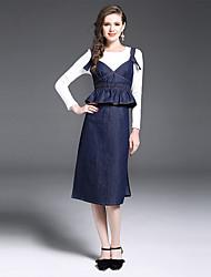 Dámské Jednobarevné Běžné/Denní Práce Sofistikované Trička Sukně Obleky-Podzim Kulatý Dlouhý rukáv Natahovací
