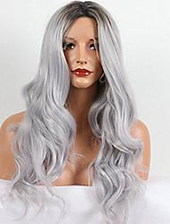 preiswerte -Synthetische Lace Front Perücken Wasserwellen Natürlich gewellt Grau Damen Spitzenfront Karnevalsperücke Halloween Perücke Promi-Perücke