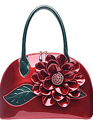 cheap -Women's Bags Patent Leather Tote Flower for Wedding Casual All Seasons Red Blushing Pink Dark Green Fuchsia Sky Blue