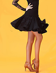 Недорогие -Латино Нижняя часть Жен. Концертная обувь Ice Silk (искусственное волокно) Кружево Завышенная талия Юбки