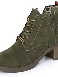 cheap -Women's Shoes PU Fall Winter Combat Boots Boots Block Heel Round Toe Mid-Calf Boots Lace-up For Casual Green Black
