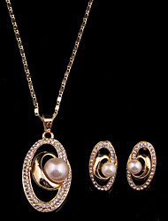 cheap -Women's Imitation Pearl Jewelry Set Earrings Necklace - Gold For Wedding Party
