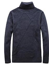 economico -Per uomo Quotidiano Tinta unita Pullover, A collo alto Manica lunga Autunno Cotone