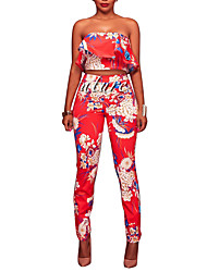 cheap -Women's Going out Club Vintage Sexy Boho Spring Fall Tank Top Pant Suits,Floral Color Block Sexy Off Shoulder Backless Ruffle