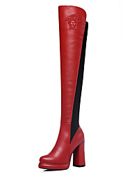 cheap -Women's Shoes Synthetic Fall / Winter Fashion Boots Boots Over The Knee Boots Black / Red / Party & Evening