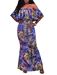 Women's Party Sexy Sheath Dress,Print Off Shoulder Full-Length Short Sleeves Polyester Summer Fall Mid Rise Micro-elastic Medium