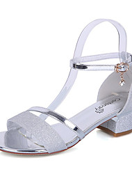 Women's Shoes PU Summer Comfort Sandals Walking Shoes Low Heel Round Toe For Casual Gold Silver