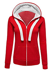 cheap -Women's Cotton Hoodie - Solid Colored Block