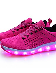 cheap -Women's Shoes Tulle Spring / Fall Light Up Shoes Sneakers Round Toe Gray / Fuchsia