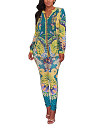 Women's Holiday Going out Bohemian style Vintage Spring Fall T-shirt Pant Suits,Print Sexy V Neck Long Sleeve Micro-elastic