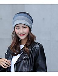 Недорогие -Для женщин Шапки Широкополая шляпа,Осень Зима Шерсть Хлопок В полоску
