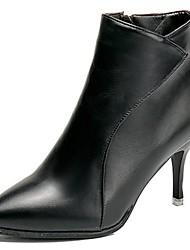 preiswerte -Damen Schuhe PU Herbst Komfort Pumps Stiefel Stöckelabsatz Spitze Zehe Für Normal Schwarz