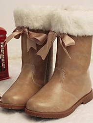 baratos -Para Meninas Sapatos Micofibra Sintética PU Outono / Inverno Botas de Neve Botas para Amêndoa / Vinho