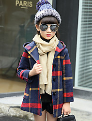 cheap -Girls' Plaid Others Jacket & Coat,Wool Cotton Winter Fall Long Sleeve Basic Classic & Timeless Check Vintage Inspired Halloween Christmas