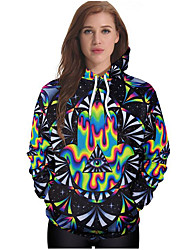 cheap -Women's Going out Hoodie 3D Print Hooded Micro-elastic Cotton Winter