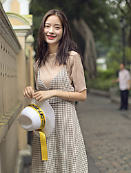 Women's Going out Casual/Daily Simple Summer T-shirt Skirt Suits,Grid Pattern Cowl Short Sleeve Micro-elastic