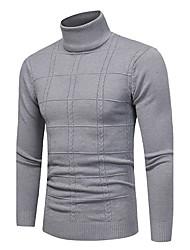 economico -Standard Pullover Da uomo-Taglie forti Casual Semplice A quadri A collo alto Manica lunga Poliestere Elastene Altro Autunno Inverno Medio