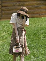 abordables -Mujer Simple Casual/Diario Primavera T-Shirt Falda Trajes,Escote Redondo Un Color Manga Corta Microelástico