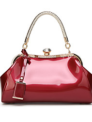 cheap -Women's Bags Patent Leather Tote Buttons for Wedding Formal All Seasons Black Red Blushing Pink Fuchsia Wine
