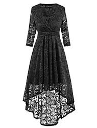 Gaine Balançoire Robe Femme Décontracté / Quotidien simple,Couleur Pleine Col en V Mi-long Manches Longues Polyester Automne Taille