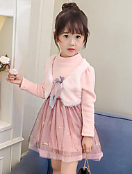 Girl's Daily Going out Patchwork Dress,Rayon Polyester Winter Fall Long Sleeve Lace Blushing Pink