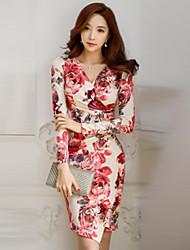 preiswerte -Damen Bodycon Hülle Kleid - Gerüscht, Blumen V-Ausschnitt