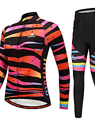 cheap -Miloto Women's Long Sleeves Cycling Jersey with Tights - Black/Orange Bike Clothing Suits