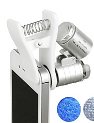 60x zoom microscópio magnifier led uv light clip-on micro lente para universal celulares universal clamp para iphone