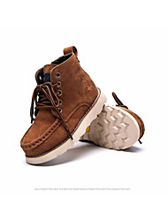 cheap -Boys' Shoes Real Leather Fall Winter Combat Boots Boots Mid-Calf Boots Lace-up For Casual Khaki Wine Black