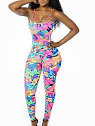 cheap -Women's Jumpsuit - Color Block, Floral Strap