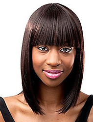 cheap -Synthetic Wig Bob Haircut / With Bangs Synthetic Hair Brown Wig Women's Medium Length / Long Capless