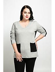 economico -T-shirt Da donna Casual Taglie forti Semplice Romantico Per tutte le stagioni Autunno,Monocolore Rotonda Cotone Poliestere Manica lunga