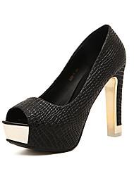 abordables -Mujer Zapatos Semicuero Primavera Otoño Innovador Tacones Plataforma Punta abierta Para Boda Fiesta y Noche Negro Beige