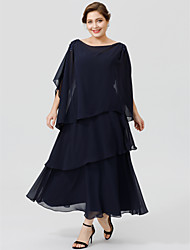 cheap -Princess Cowl Neck Tea Length Ankle Length Chiffon Mother of the Bride Dress with Beading Tiered by LAN TING BRIDE®