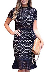 Women's Party Holiday Sexy Boho Cute Lace Dress,Color Block Crew Neck Knee-length Short Sleeves Polyester Spring Summer Mid Rise