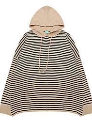Women's Casual/Daily Regular Pullover,Striped Hooded Long Sleeves Acrylic Fall Winter Medium Micro-elastic