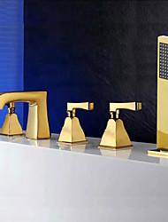 levne -Vana a sprcha Keramický ventil Tři Rukojeti pěti jamkách Zlatá, Vanová baterie
