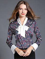 cheap -Women's Going out Work Winter Fall Shirt,Print Halter Long Sleeves Cotton Polyester Medium