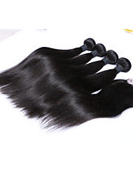Human Hair Brazilian Natural Color Hair Weaves Straight Hair Extensions 5 Pieces Black