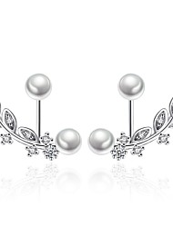 Women's Stud Earrings Cubic Zirconia Imitation Pearl Luxury Bling Bling Silver Plated Leaf Jewelry For Ceremony Valentine