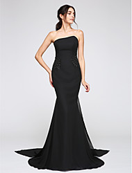 cheap -Mermaid / Trumpet Strapless Watteau Train Chiffon Formal Evening Dress with Beading by TS Couture®