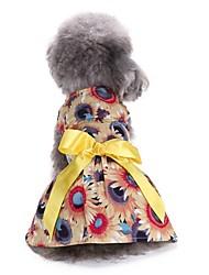 abordables -Chat Chien Robe Smoking Noël Vêtements pour Chien Soirée Décontracté / Quotidien Mariage Nouvel An Floral/Botanique Jaune Costume Pour